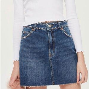 TOPSHOP MOTO Denim Skirt with Studs